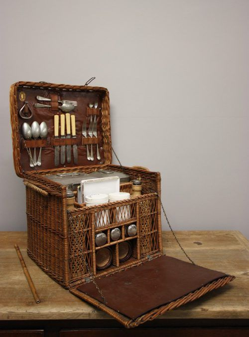 £880 Ultimate Edwardian Antique Picnic Hamper: What woman hasn't wished for an elegant picnic basket, stocked with wine, cheese & yummy stuff, and carried by a hot man to a beautiful hilltop at sunset? Um... Maybe that's just me