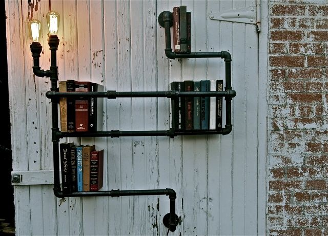 attractive inventive industrial pipe shelving pictures cool unique industrial pipe shelf with lighting decor idea iidudu - Industrial Home Decor