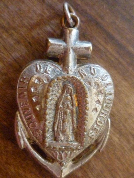 Ex Voto Lourdes Apparition Grotte Anchor Pendant