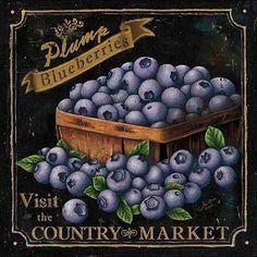 Marie-Elaine Cusson: Country Market II Keilrahmen-Bild Leinwand Obst Küche Deko