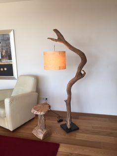 Floor lamp and arc lamp made of weathered old Oak by GBHNatureArt