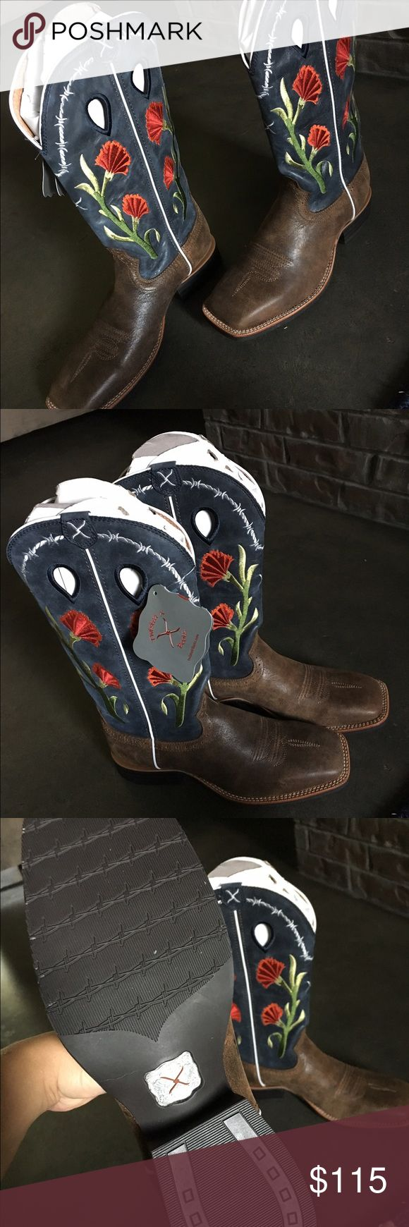 Twisted X Boots - flowering cactus Women's Western Boots 8.5 B. All leather upper, man made outside. Flowering cactus square toe boots Twisted X Shoes