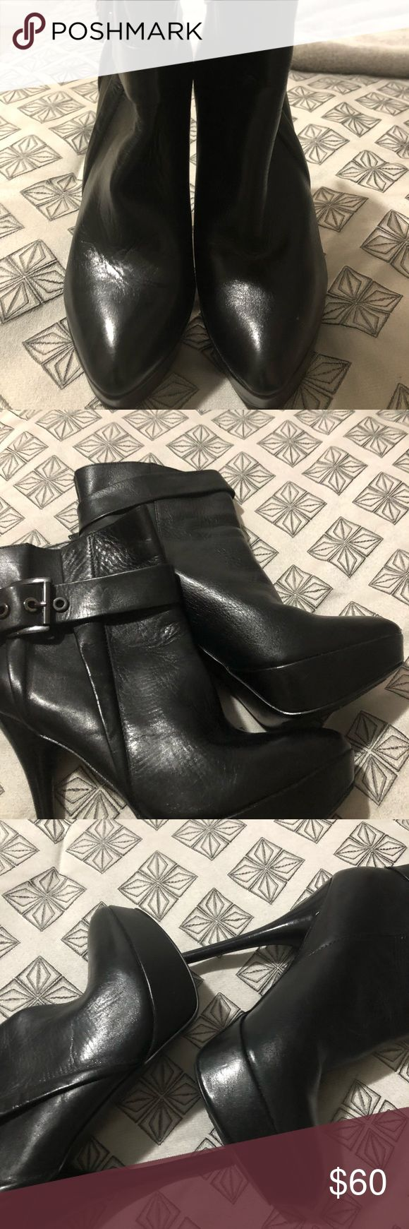 HOT Aldo shoes Hot NEW ALDO Ankle boots ‼️ These shoes extraordinary effects, set on a stiletto heel also with a belt wrap around the ankle.   Soft leather and with a  3 1/2 to 4 inch heel. These are very comfortable they sat in my closet so It's time to pass them on.    No box No receipt  And no trades Will accept a decent offer.. Please  nothing under 45 Aldo Shoes Ankle Boots & Booties