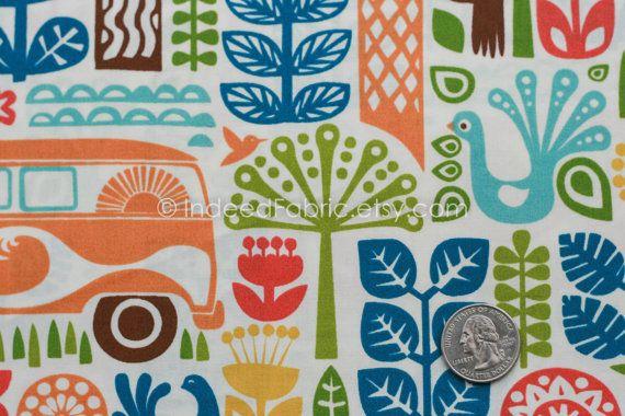 FQ Ipanema Main Orange Ipanema Birch Fabrics by IndeedFabric