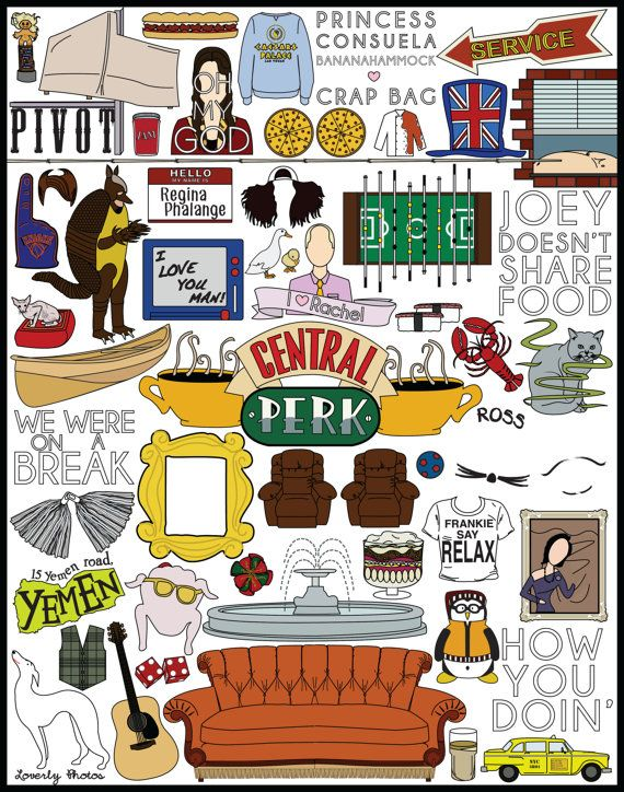 Print of my original design of memorable elements from the television show Friends. 11 x 14 in print Printed on matte  If youre interested in having this printed on something you can message me for the available options