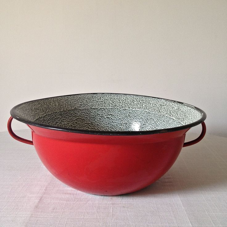 Beautiful red large enamel bowl. Lovely glazing on the inside too! www.thecleverhampercompany.co.uk