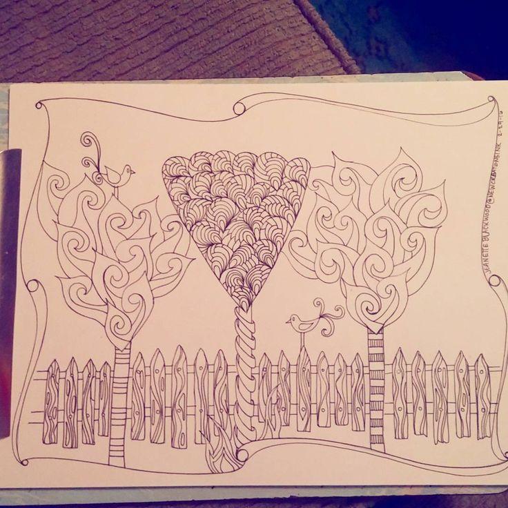 Triangle Trees tree coloringpage pentangle doodleart