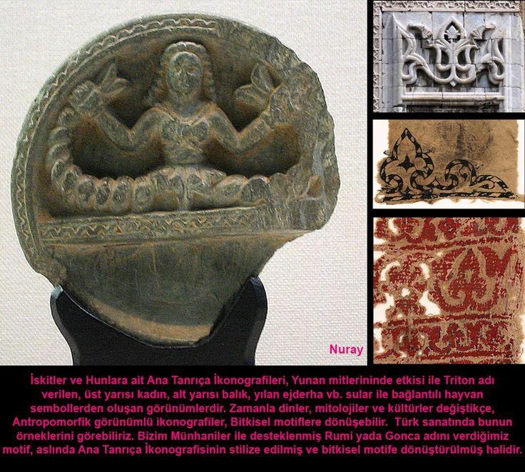 İskitler ve Hunlara Ait Ana Tanrıça İkonografileri  Yunan mitlerininde etkisi ile Triton adı verilen üst yarısı kadın, alt yarısı balık, yılan ejderha vb. sular ile bağlantılı hayvan sembollerden oluşan görünümlerdir. Zamanla dinler, mitolojiler ve kültürler değiştikçe antropomorfik görünümlü ikono