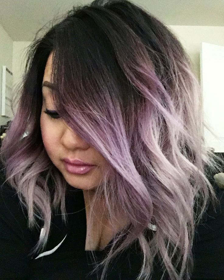 Smokey purple ombré hair and long bob                                                                                                                                                                                 More