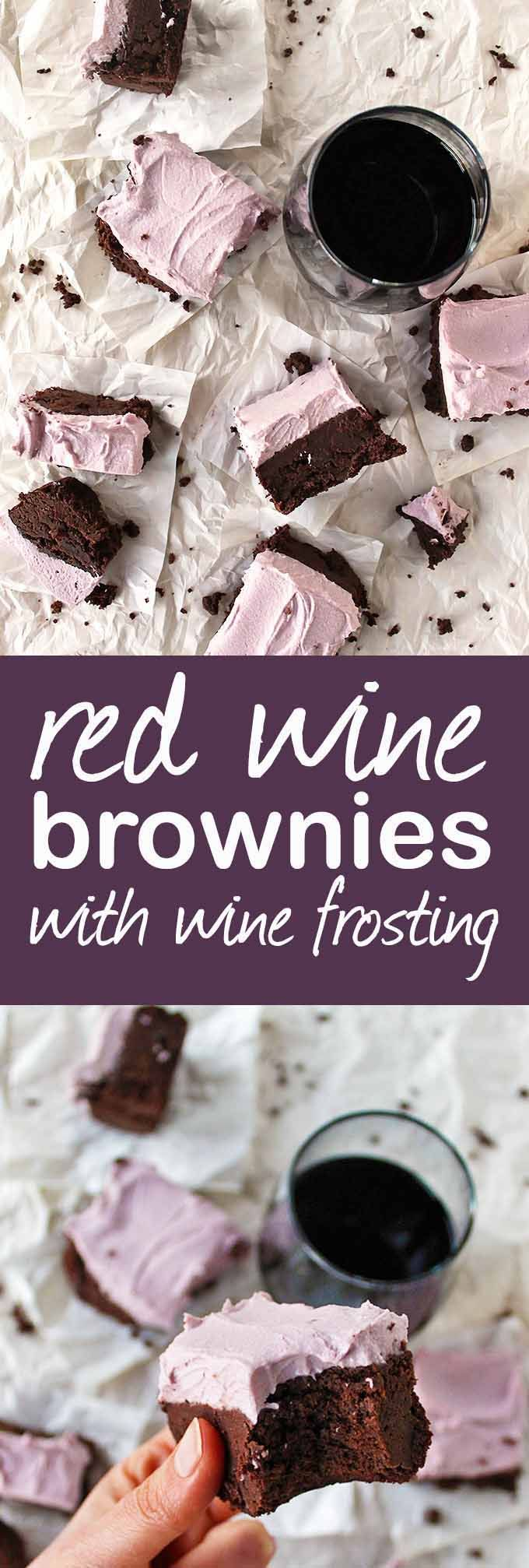 """Red wine brownies with wine """"buttercream"""" frosting - Fudge-y gluten free brownies with a hint of red wine and topped with wine """"buttercream"""" frosting. Perfect dessert for any special occasion. Best served with some red wine! So Yum!!!! (Gluten Free + Dairy Free) 