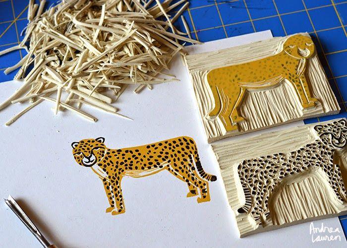 Andrea Lauren: Andrea Lauren: Two and Three Color Block Print Stamps: Safari
