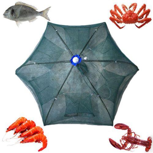 Foldable Fishing Crab Net Trap Cast Dip Cage Crab Fish Minnow Crawfish Shrimp V