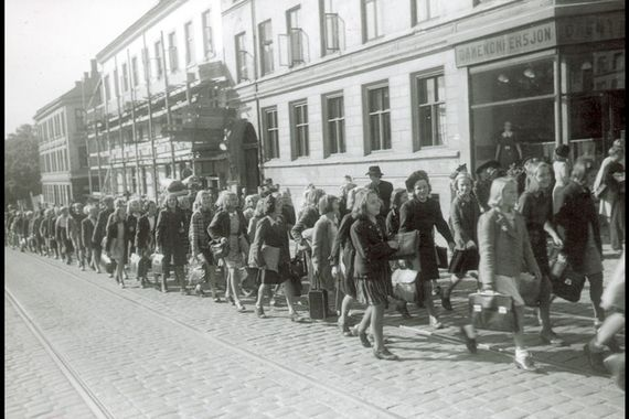 school kids walking to sagene skole, first day after world war ii