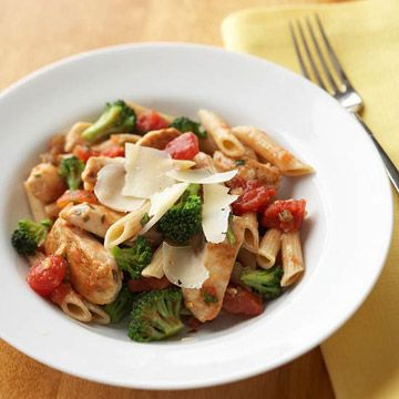 Chicken Pasta Toss - Diabetic - chicken - multigrain or whole grain penne pasta - olive oil - 4 garlic cloves - crushed red pepper - broccoli - 14.5 oz. can diced tomatoes with green pepper and celery and onions - fresh basil or oregano