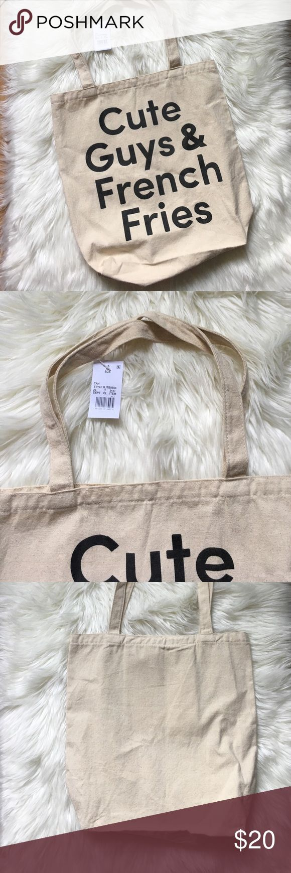 NWT Urban Outfitters Cute Guys Canvas Tote Bag Brand new with tags attached and no flaws at all. 13 inches long 16 inches high. NO TRADES PLEASE Urban Outfitters Bags Totes