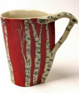Red Birch tree mug with off-white branch handle Ceramic - free form ~~via #SassafrasNA @ #DreamsarealityCosmetics #LipSense #DistrIDNo394672 www.seneweb.senegence.com/us/contact/shop-now/ We Ship! Thanks for your business!