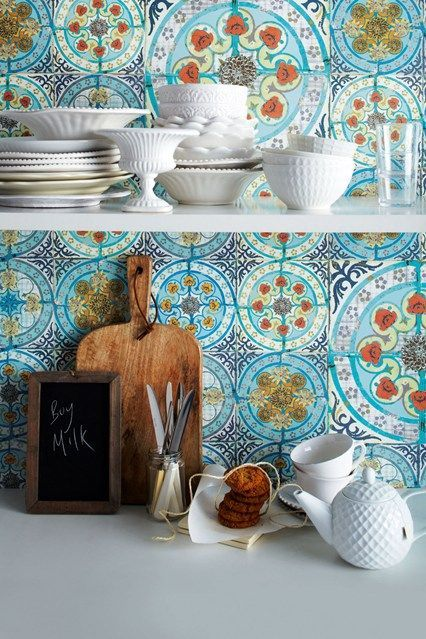 Use pattern to add a bright splash of colour into your home. Add off and white accessories to create a rustic feel prefect for bathrooms and kitchens.