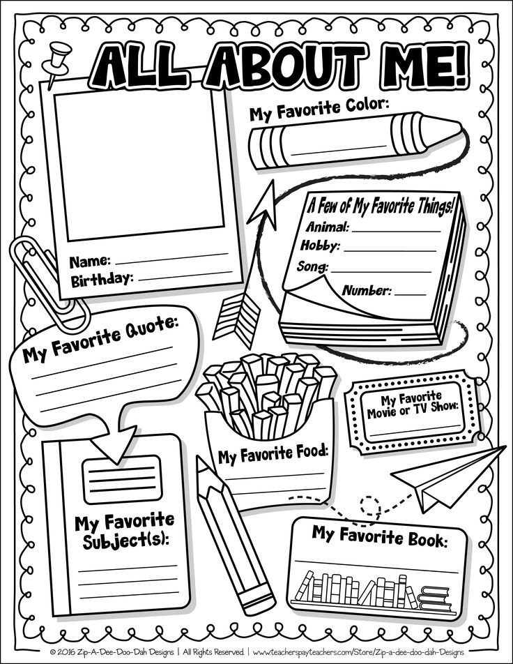 FREE All About Me Activity Worksheet Template {ZipADee