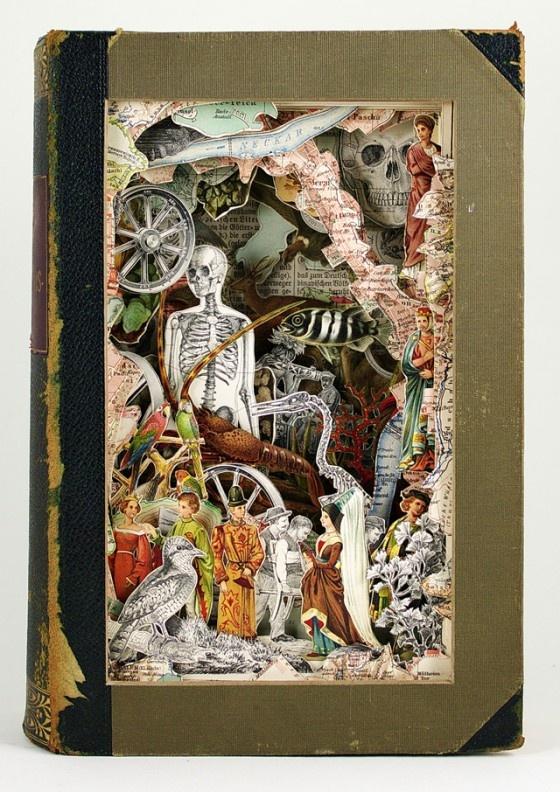 Antieke boeken gebeeldhouwd tot kunstwerken