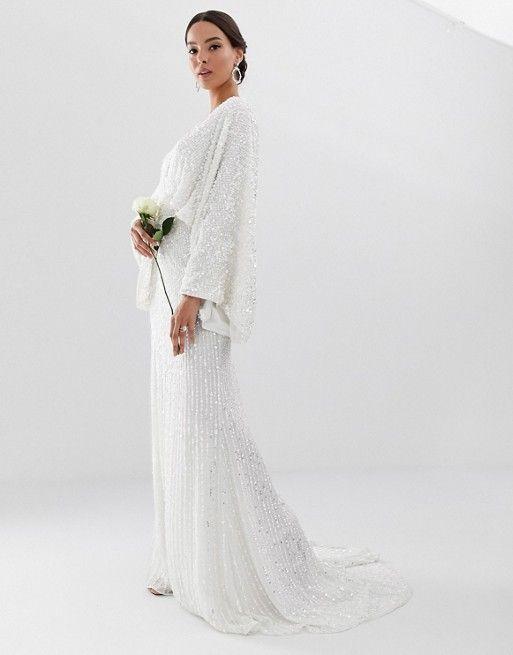 c7368892443c EDITION sequin kimono sleeve wedding dress in 2019   Wedding Dreams ...