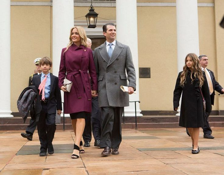 Donald Trump Jr, with his wife Vanessa and children depart St. John's Church in Washington, DC, after a service for U.S. President-elect Trump, January 20, 2017.  On Inauguration Day, Vanessa Trump attended her father-in-law's swearing-in ceremony wearing a burgundy coat with a cowl collar.  Donald Trump