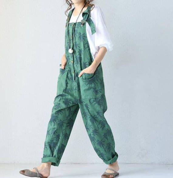 Blue/ green Cotton Loose fitting Woman long Bib/ Large file