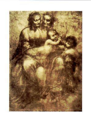 SANT'ANNA, LA VERGINE, IL BAMBINO E SAN GIOVANNINO - Leonardo Da Vinci - 1501/1503 - carboncino e sfumino su carta rossa - National Gallery (Londra)