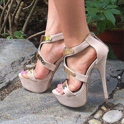 Nude with gold heels Shoe Heaven gold heels |2013 Fashion High Heels|