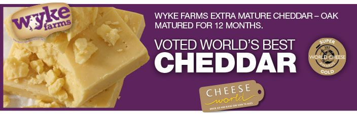 The world's most voted cheddar from #Checkers: Wyke farms extra mature cheddar, oak matured for 24 months. A perfect complement to your glass of wine. Bettter and better