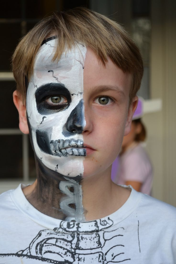 Funny face painting for kids creative art and craft ideas - Skeleton Face Painting Halloween