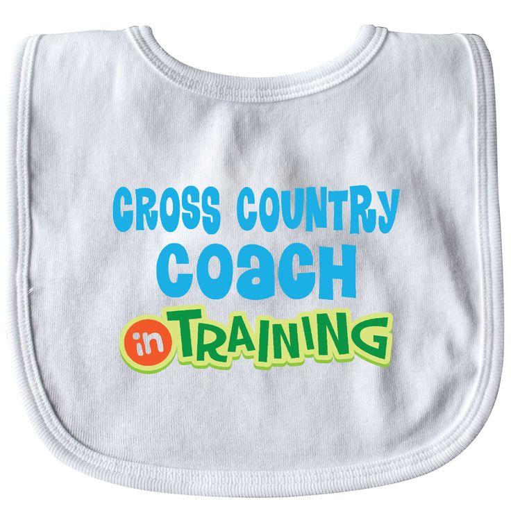 Cross Country Coach in training Baby Bib White $8.99 www.homewiseshopperkids.com