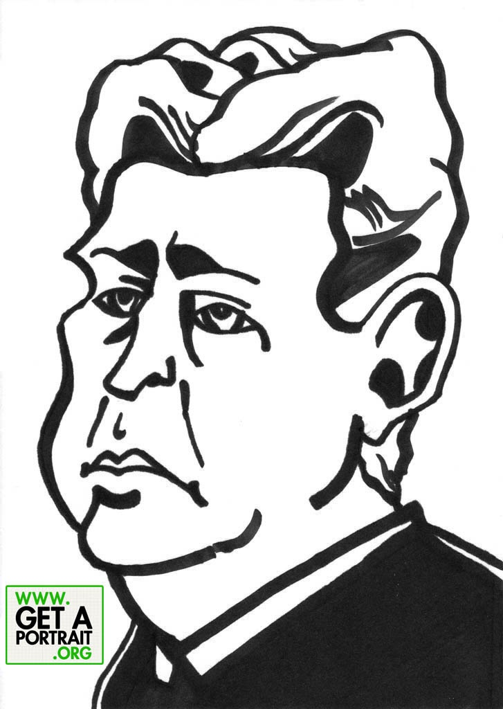 Caricature of Mihail Sadoveanu, Romanian writer — Get a high quality PORTRAIT or CARICATURE from a pro, for an unbeatable price! http://GetAPortrait.org