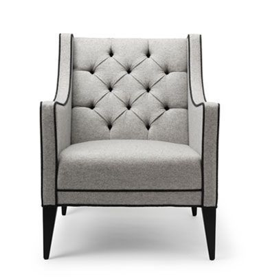 THE SARTOR CHAIR.  Shown here upholstered in Lisle grey wool. Contrast piping…