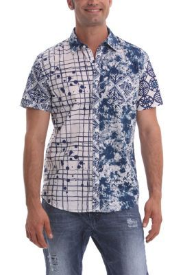 Desigual men's Corta short-sleeved shirt. An item which clearly has Desigual DNA: it's totally asymmetrical with two strikingly different sections.