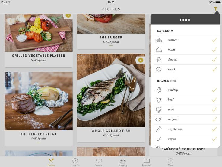 Kitchen stories, search, filters, options, popup, iPad