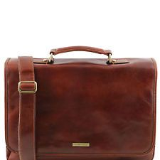 TUSCANY LEATHER briefcase TL SMART semi-rigid with flap made in Italy