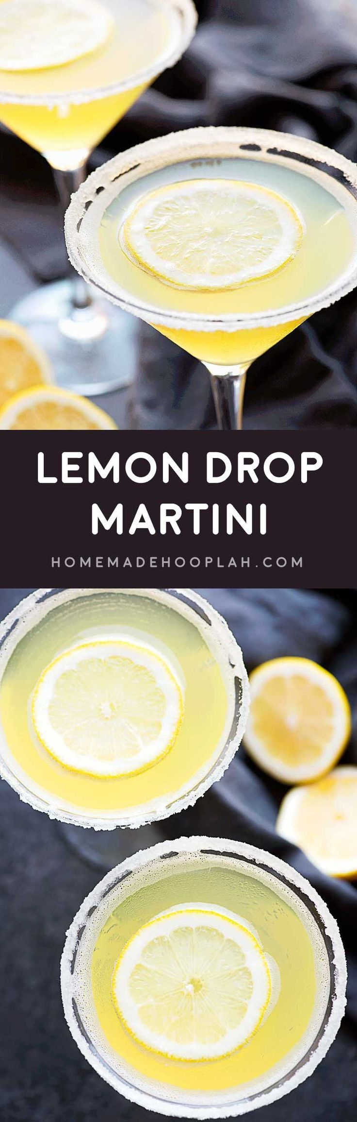 Lemon Drop Martini! A deliciously sweet martini made with limoncello, vodka, sweet and sour mix, and a dash of lemon. Dress it up with lemon-flavored sugar along the rim! | HomemadeHooplah.com