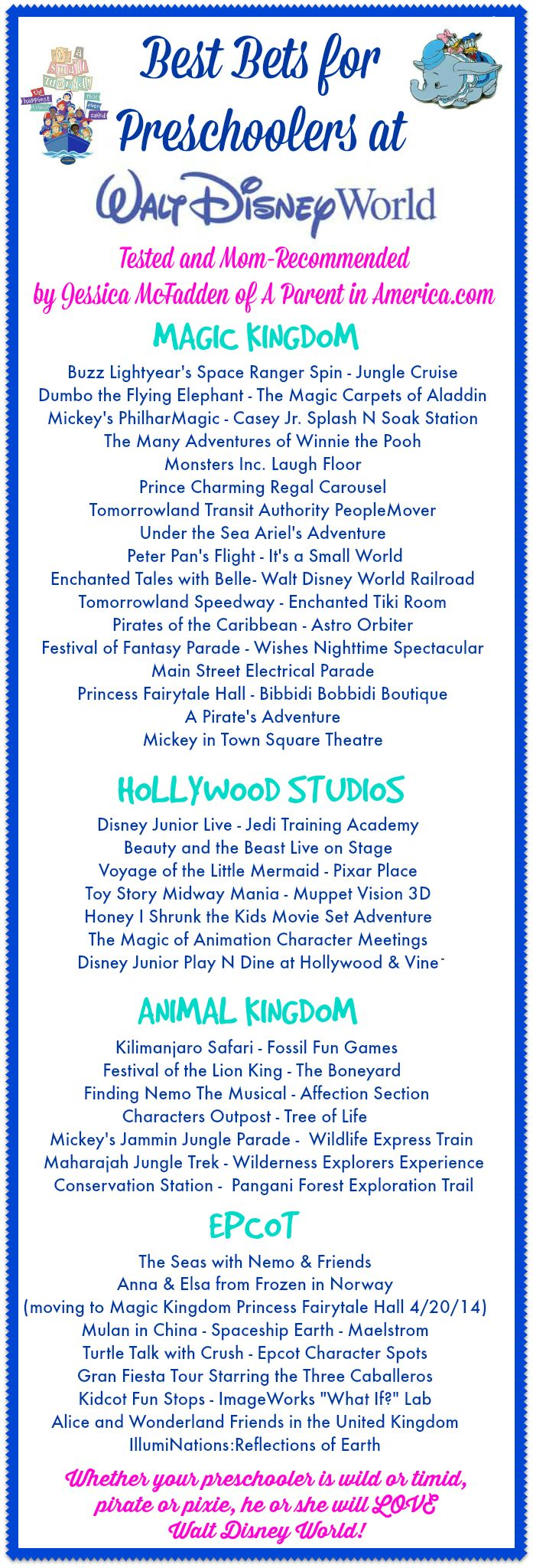 List of attractions suitable for pre-schoolers