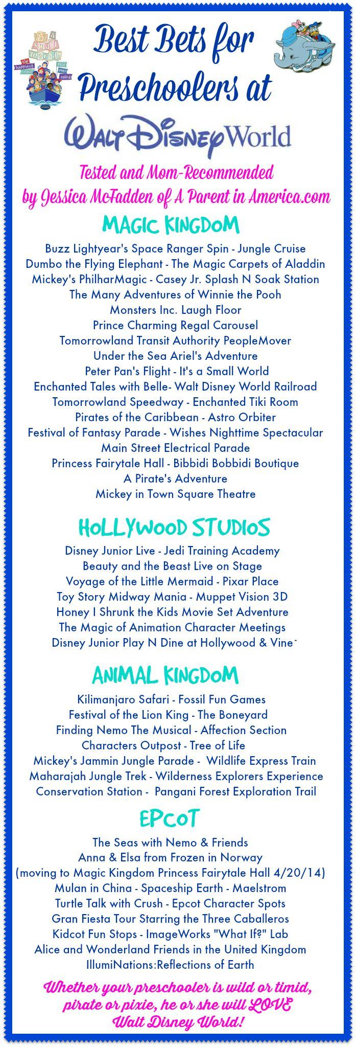 Great list of preschool friendly attractions at Walt Disney World