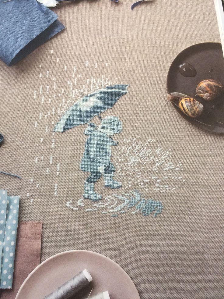 In The Rain, perfect fabric pick, colours and stitchery.