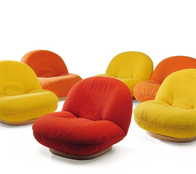 Pierre Paulin; 'Pacha' Armchairs for Mobilier International, c1975.