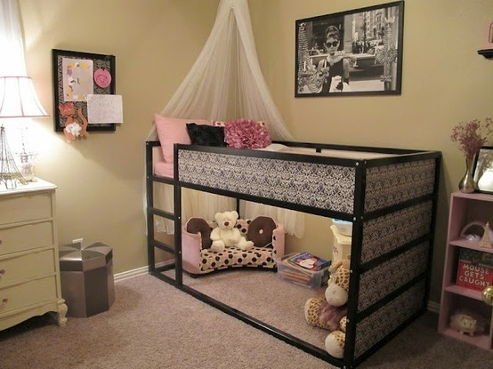 Ikea loft bed with DIY fabric panels... One of these for each kid and they get their own hangout space