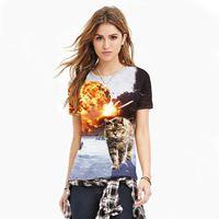 3D printed cartoon rock fashion Tshirt women plus size cat design couple T 2016 new o-neck short sleeve personalized T-shirt