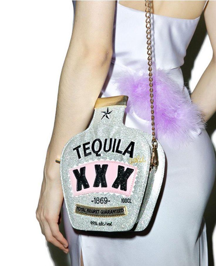Bottle Sequined Crossbody Bag