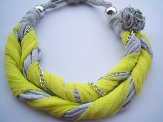 necklace with fabric and chains by hara75 on Etsy, $15.00