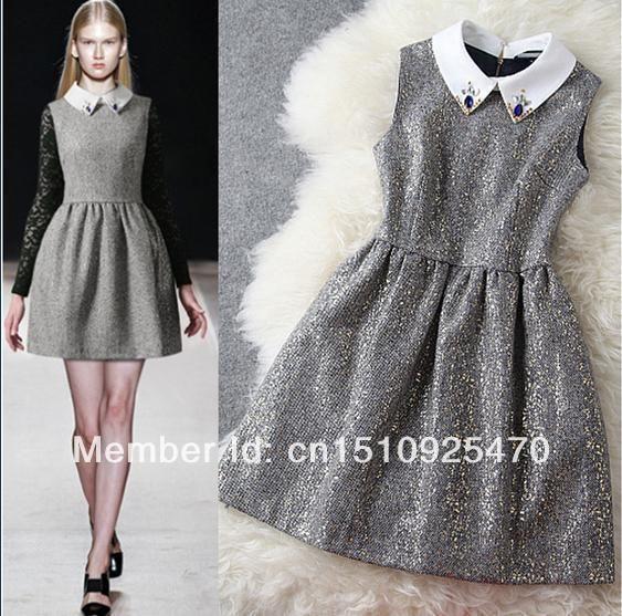 2014 New Design Grey Slim Upscale Retro Rhinestone Doll collar Sleeveless Shinny Sequined OL Dresses $52.99
