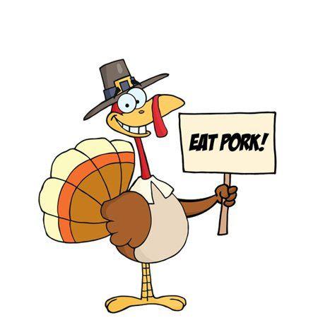 Thanksgiving Turkey Eating Pork Cartoon Vector