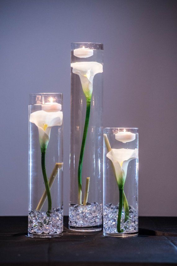 Submersible White Calla Lily Floral Wedding Centerpiece With