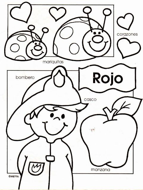 Spanish colors - Dibujos infantiles con los colores escritos para colorear por los niños