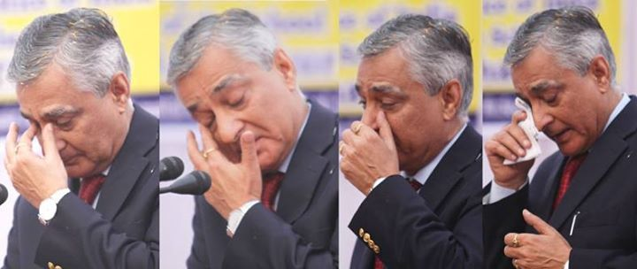 CJI Justice T S Thakur turns emotional several times during his address at Central Basic School Jammu.  Excelsior/Rakesh